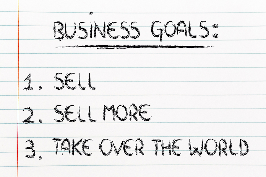 funny steps for business success: sell sell more take over the world