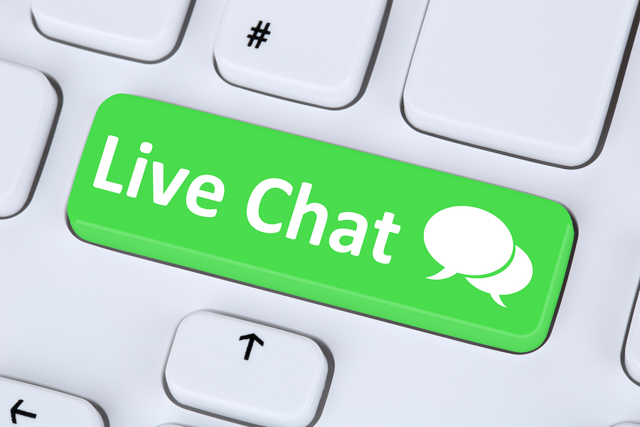 Live Chat Contact Communication Service Symbol On Computer Keybo